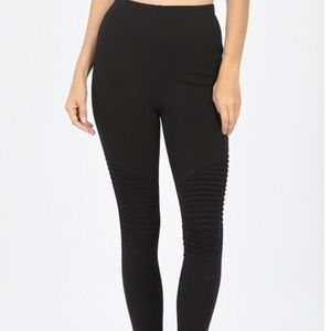 Zenana Stretchy Cotton Black Moto Leggings New